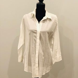 Elizabeth and James Sheer White Button Down Top L